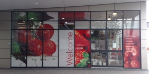 One way window graphics on a supermarket in Redcliff
