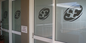 Window graphics for a Tewantin business